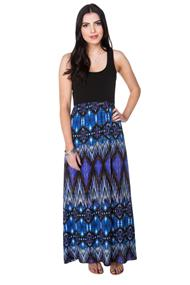 Tribal Print Maxi Dress with Solid Bust