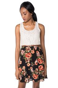 Sleeveless Lace Floral Dress with Skinny Belt