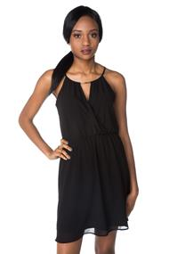 Chiffon Surplice Dress with Gold Detail at Neckline
