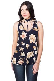 Sleeveless Floral Top with Choker and Multi Strap Detail