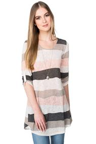 Wavy Stripe Tunic Length Sweater