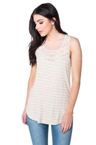 Striped Tank with Crochet Neckline and Shirttail Hem