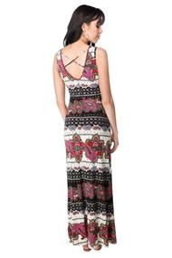 Paisley Sleeveless Maxi Dress with Criss Cross Back Detail