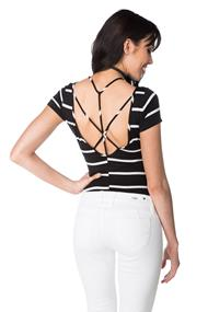 Striped Cap Sleeve Bodysuit with Open Strappy Back