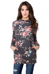 Tunic Length Floral Hoodie