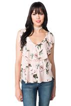 Floral Sleeveless Top with Ruffle Detail and Open Back