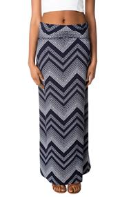 Chevron Fold Over Waistband Maxi Skirt