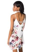 Floral Spaghetti Strap Shift Dress with Criss Cross Back