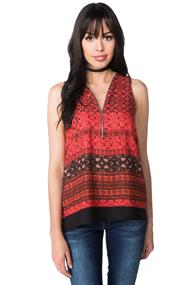 Border Print Sleeveless Top with Front Zipper