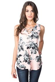 Floral Sleeveless V-neck Tank with Criss Cross Detail