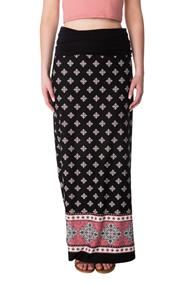 Boho Border Fold Over Waistband Maxi Skirt