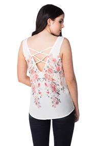 Mirror Floral Tank with Criss Cross Back