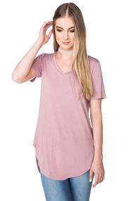 V-neck Tunic with Shirttail Hem