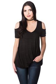 Cold Shoulder Top with Twisted Hem