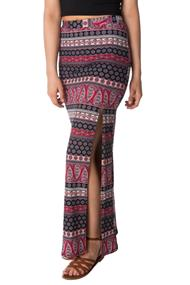 Boho Print Maxi Skirt with Slit