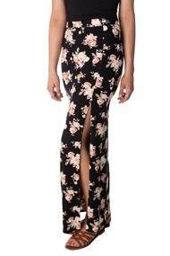 Floral Print Maxi Skirt with Slit