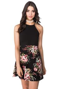 Floral Strappy Skater Dress with Solid Top