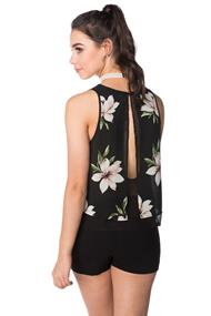 Double Layer Floral Blouse with Open Back
