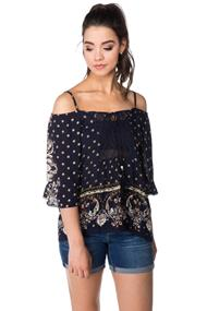 Angie Off the Shoulder Boho Blouse with Crochet Front and Ties