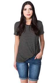 Striped Tee with Twisted Hem
