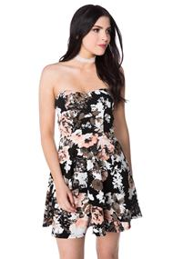 Floral Strapless Skater Dress with Crossover Hem