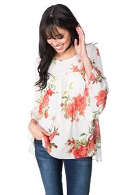Floral Babydoll Blouse with Bell Sleeves