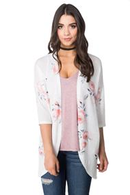 Rose Print Open Cardigan