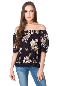 Floral Off the Shoulder Blouse with Crochet Trim