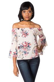 Floral Print Off the Shoulder Top with Bell Sleeves