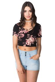 Floral Crop Top with Criss Cross Detail