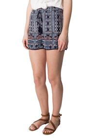 Angie Aztec Crinkle Crepe Short with Smocked Waistband