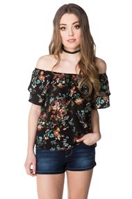 Floral Bubble Crepe Off the Shoulder Top