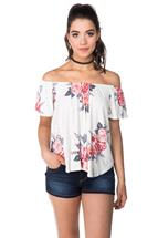 Rose Print Off the Shoulder Top