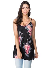 Strappy Rose Print Tunic Length Cami