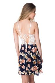 Lace and Rose Print Dress with Tie Back
