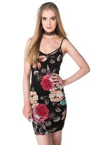 Floral Mesh Overlay Bodycon Dress
