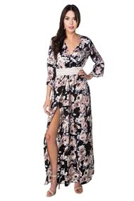 Floral Crossover Maxi Dress with Bell Sleeves and Front Slit