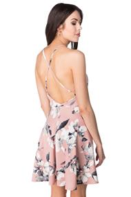Floral Skater Dress with Criss Cross Open Back