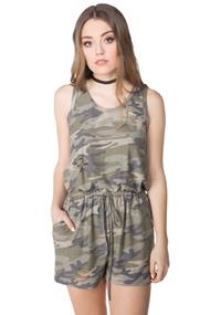 Ripped Camouflage Romper