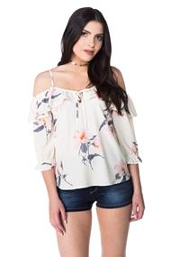 Floral Off the Shoulder Chiffon Blouse