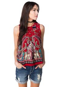 Patrons of Peace Sleeveless Scarf Print Blouse with Lace Trim