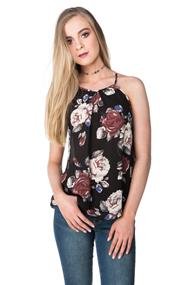 Rose Floral High Neck Tank