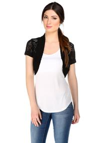 Short Sleeve Pointelle Open Cardigan