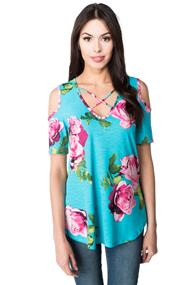Floral Short Sleeve Cold Shoulder Tunic
