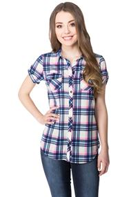 Plaid Knit Short Sleeve Shirt