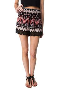Elephant Print Crinkle Crepe Short with Lace Trim