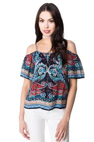 Patrons of Peace Paisley Cold Shoulder Top