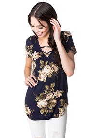 Short Sleeve V-neck Floral Top