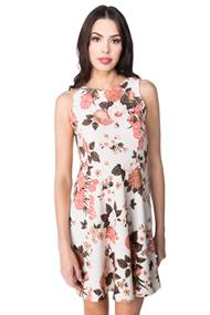 Sleeveless Floral Skater Dress with Back Zip