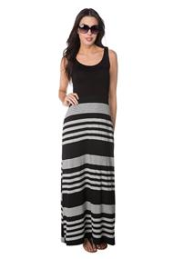 Maxi Dress with Striped Skirt and Crossover Back